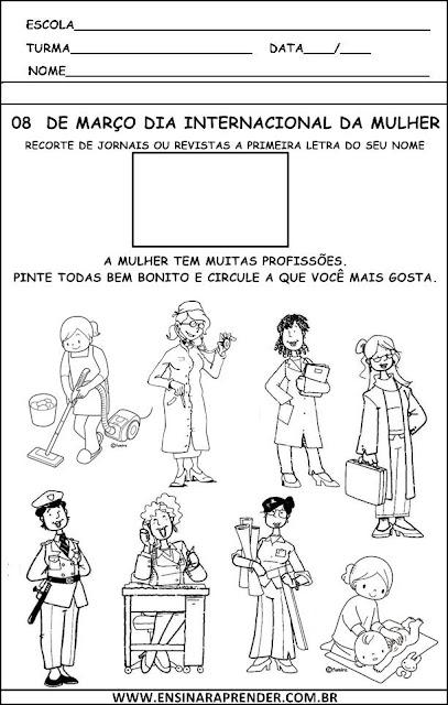 ATIVIDADES DO DIA INTERNACIONAL DA MULHER