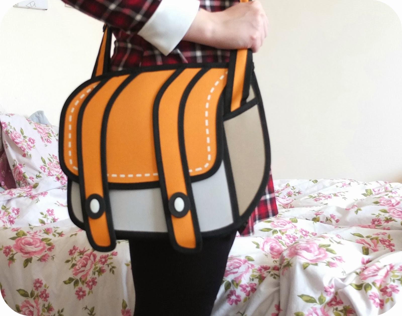 3D 2D Jump From Paper Satchel Bag