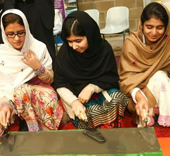 Malala Yousafzai with friends