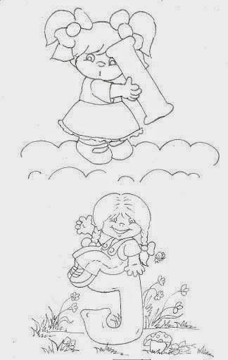 desenho de alfabeto das crianças I e J