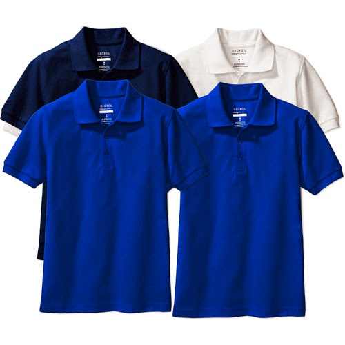 George   Girls Short Sleeve Polo Shirts 4 Pack  2 Royal Blue  2