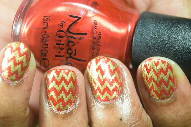 Red & Gold Stamping Nail Art