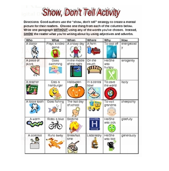 Show Don T Tell Worksheet - Worksheets