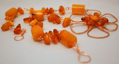 Autumn in Amber: copper, amber, wire wrapping, OOAK necklace :: All Pretty Things