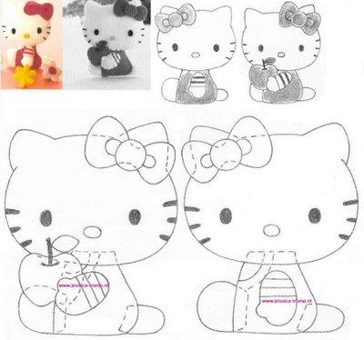 agulhas magicas e artes: Molde da Hello Kitty em EVA