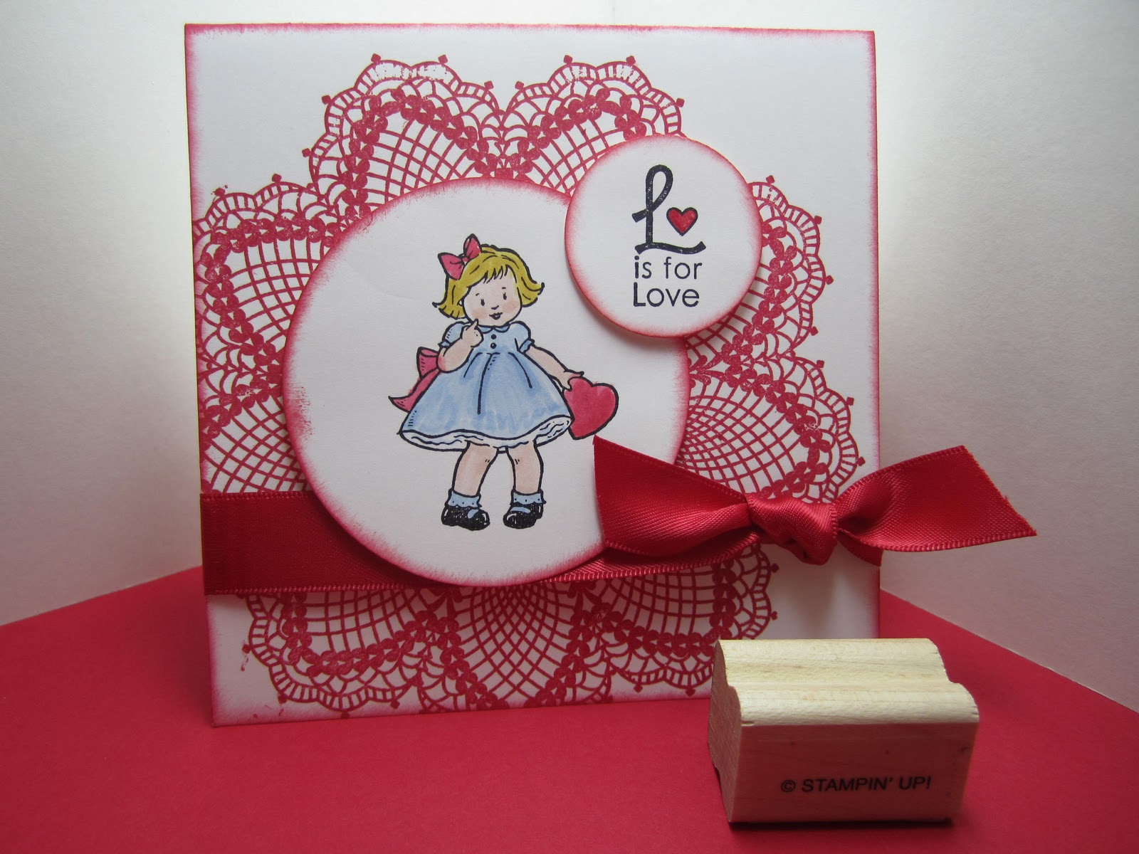 Goin Over The Edge Greeting Card Kids Valentine With Doily Stamp