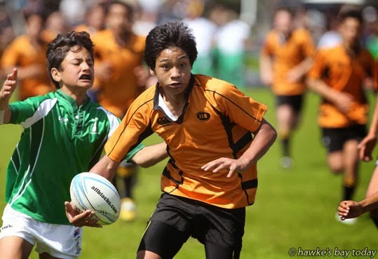 With ball: Campbell Ingram, Dannevirke - Dannevirke vs Wairoa, Ross Shield Tournament, schoolboy rugby at Central Park, Waipukurau. Dannevirke won the game 12-10 photograph