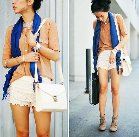 lenço, saia renda, camisa coral