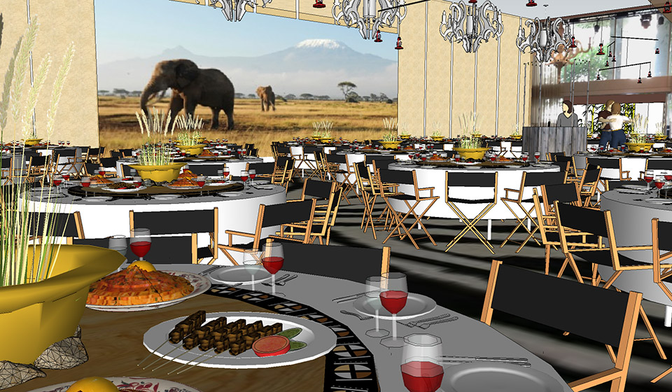 safari theme actuaries dinner at Ivy Ballroom - event design by objet bart