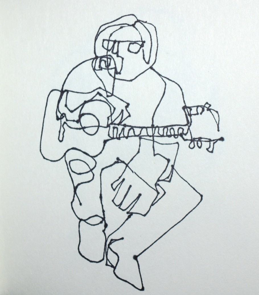 Contour Line Drawing Guitar : Artiqueryrose guitar player contour line drawings