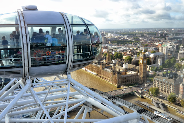 Looking down at Big Ben from the London Eye