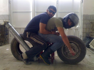 Funny Indian Bike Pose Made out of Tyres and Pipe - Funny Indian Photos