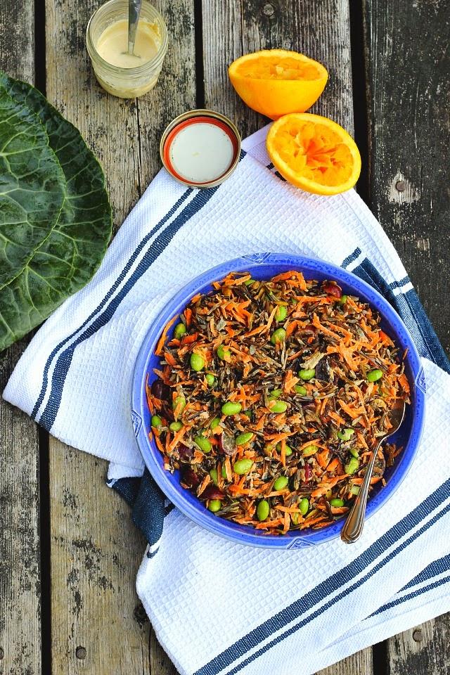 Collard Wraps with Wild Rice Salad + Orange Tahini Dressing ⎮ happy hearted ktichen