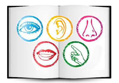 Sensory book, with five symbols: An eye, an ear, a nose, a mouth, a finger.