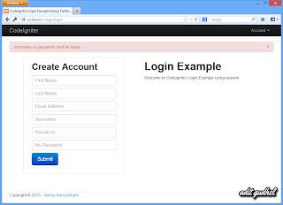 CodeIgniter Login - Error when Username and Password empty