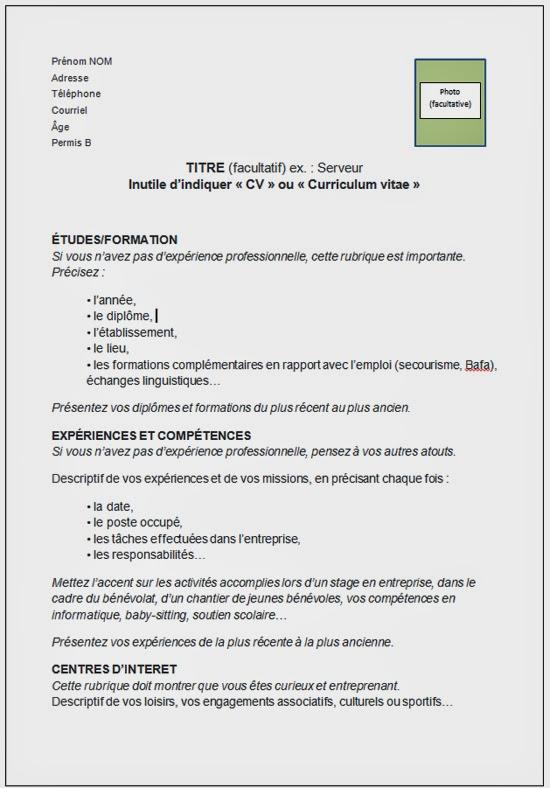 resume format  un formulaire de cv