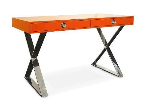 Orange lacquer desk with metal base, polished nickel and lucite drawer pulls