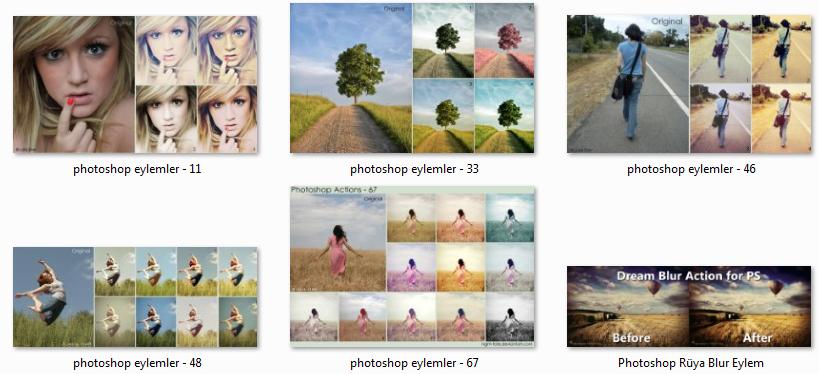 100 Adet Ücretsiz Photoshop Actions