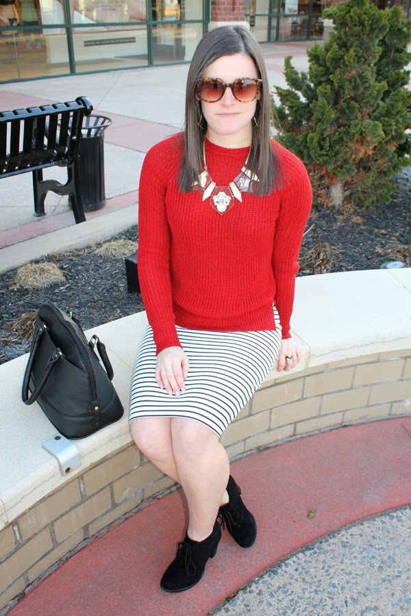 Red sweater, Zara, Zara sweater, striped skirt, Target, Target striped skirt, black booties, black Target bag