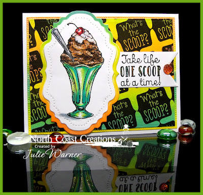 North Coast Creatinos Stamp sets: Ice Cream, What's the Scoop, Our Daily Bread Designs Custom Dies: Vintage Flourish Pattern, Vintage Label, Flourished Star Pattern, Pennant