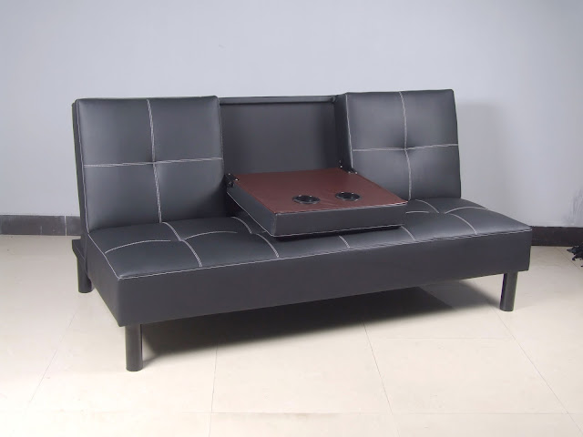 faux leather click clack sofa bed