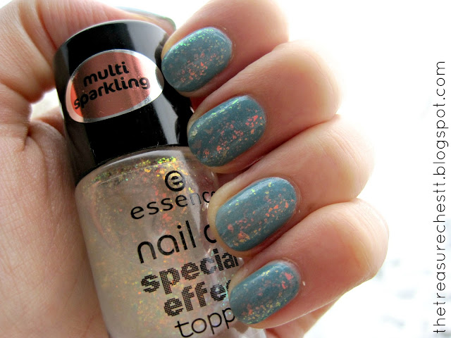 Essence Nail Art Special Effect Topper and Essence I Like Bad Boys  winter manicure flakies swatch