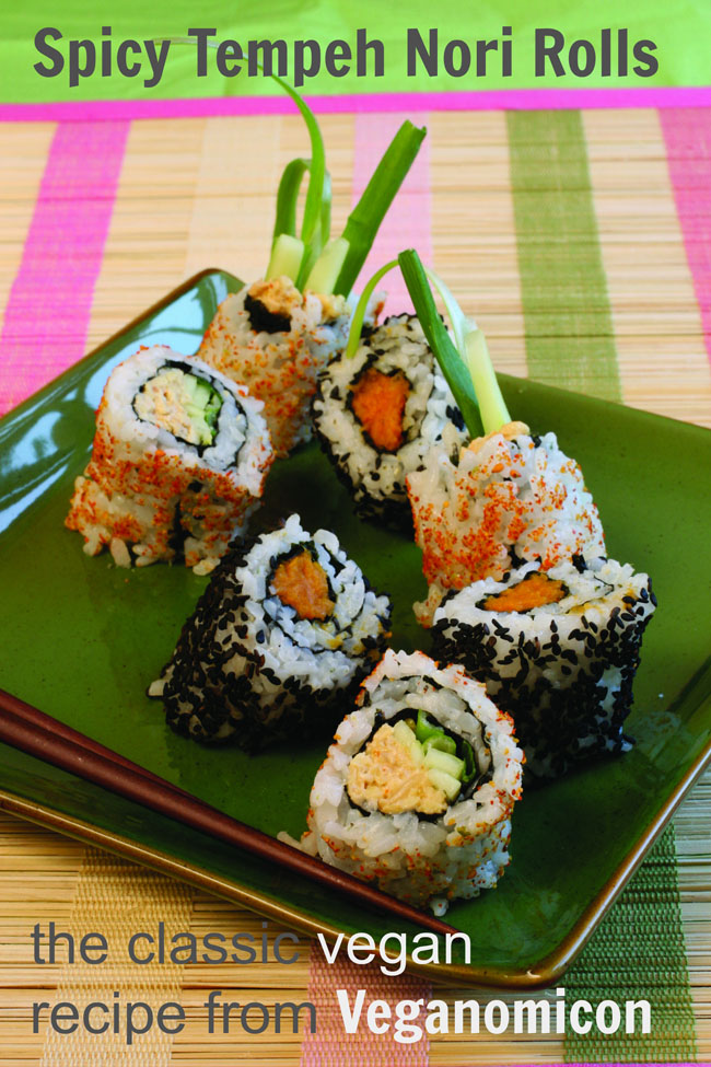 Spicy Tempeh Nori Rolls - the classic recipe from Veganomicon - with lots of tips for rolling your own veg sushi. #vegan #healthy #sushi #homemade #recipes #recipe