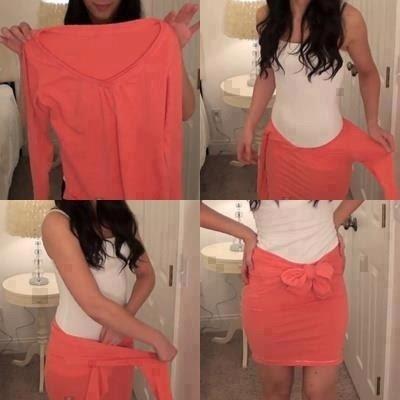 transforme blusa em saia   diy