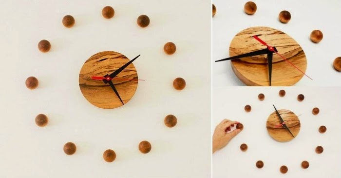 Modern Wall Clock Made Of Wood Balls DIY Ideas Houzz Home