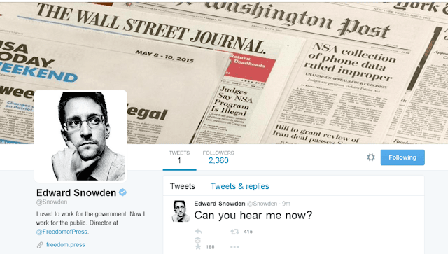 Edward Snowden está agora no Twitter - News of the World