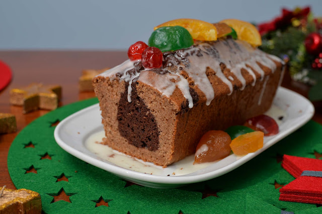 Christmas loaf cake chestnut chocolate candied fruit recipe