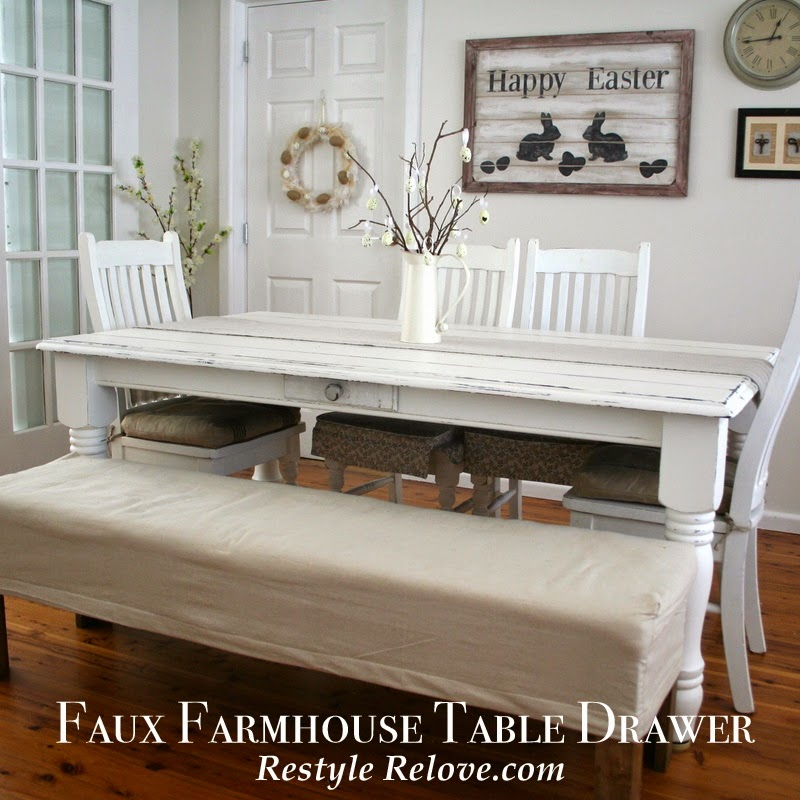 Farmhouse Kitchen Table With Drawers: Faux Farmhouse Dining Table Drawer