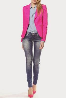 Colcci Verão 2014 Blazer pink camisa e calça jeans