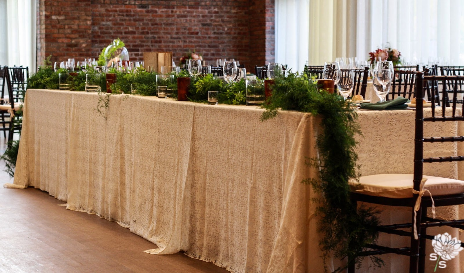 The Roundhouse Wedding - Beacon, NY - Hudson Valley Wedding - Head Table Garland - Wedding Flowers - Splendid Stems Floral Designs