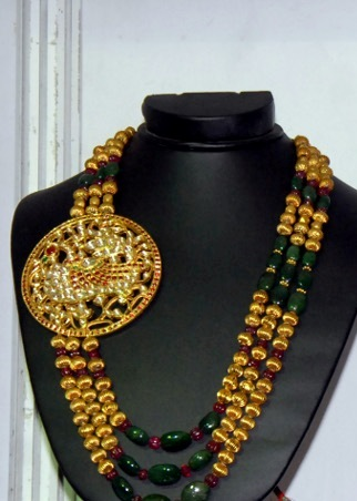 Gold and Diamond jewellery designs: Long gold Traditional ...