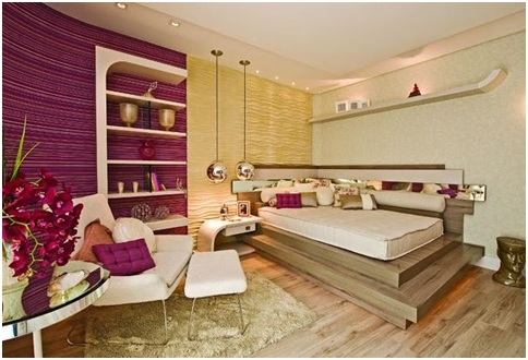 womens bedroom with purple and beige colors