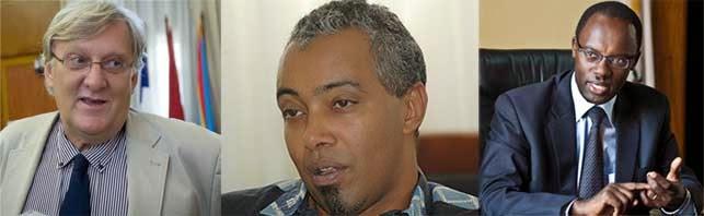 Ambasaderi w'u Bufaransa mu Rwanda, Michel Flesch; umushoramari Albert Rudatsimburwa n'umuyobozi w'umujyi wa Kigali Fidele Ndayisaba (Ifoto/Kisambira T.)