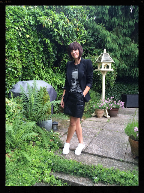 My Midlife Fashion, tuxedo, leather, faux leather, aline skirt, trainers, zara, mango, fashion for over 40