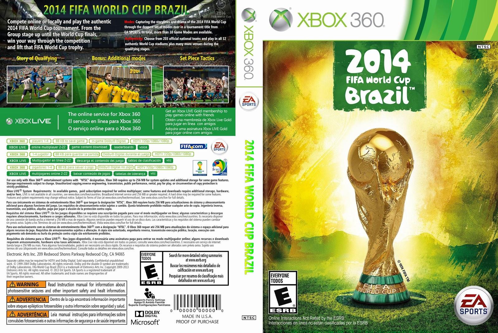 Capa 2014 Fifa World Cup Brazil Xbox 360
