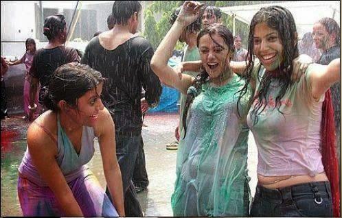 Girls Enjoying Rain Outdoors Hot And Sesy Showing Curves