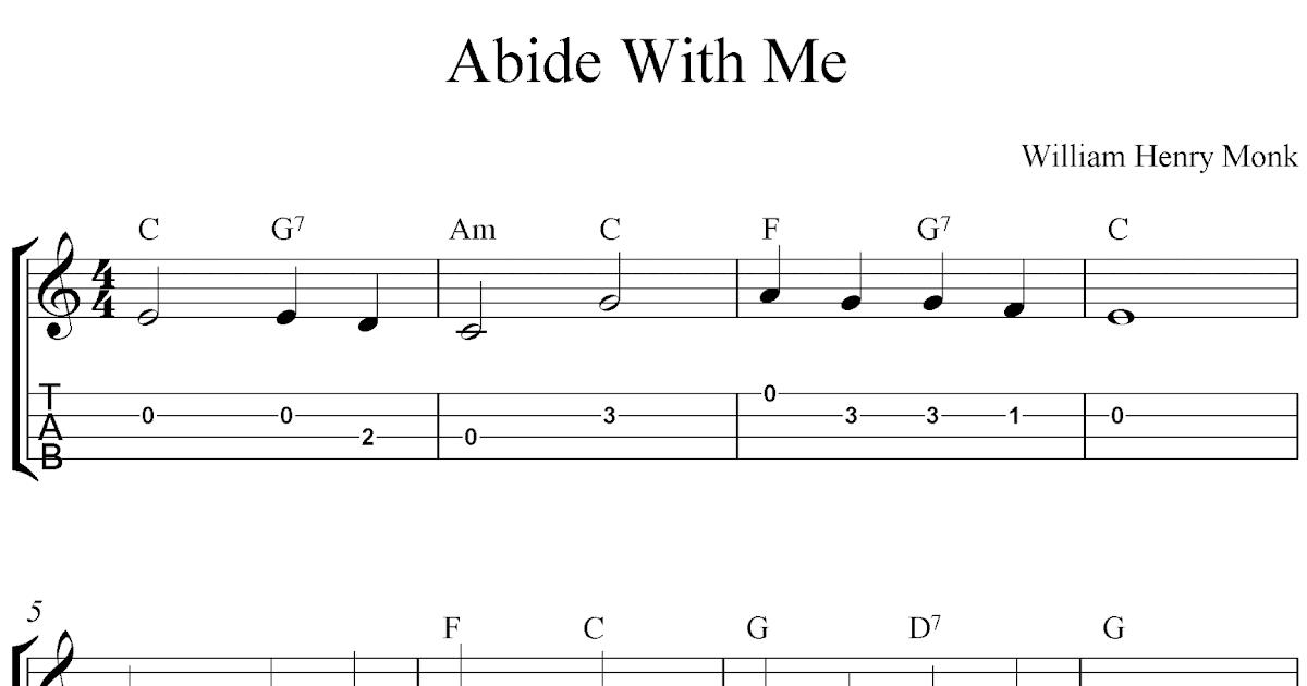 Free ukulele tab sheet music, Abide With Me