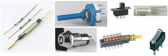 Saklar jenis lain: (a) reed switch, (b) rotary switch, (c) key switch (d) DPDT switch, (e) multi switch, (f) tilt switch, (g) micro switch.