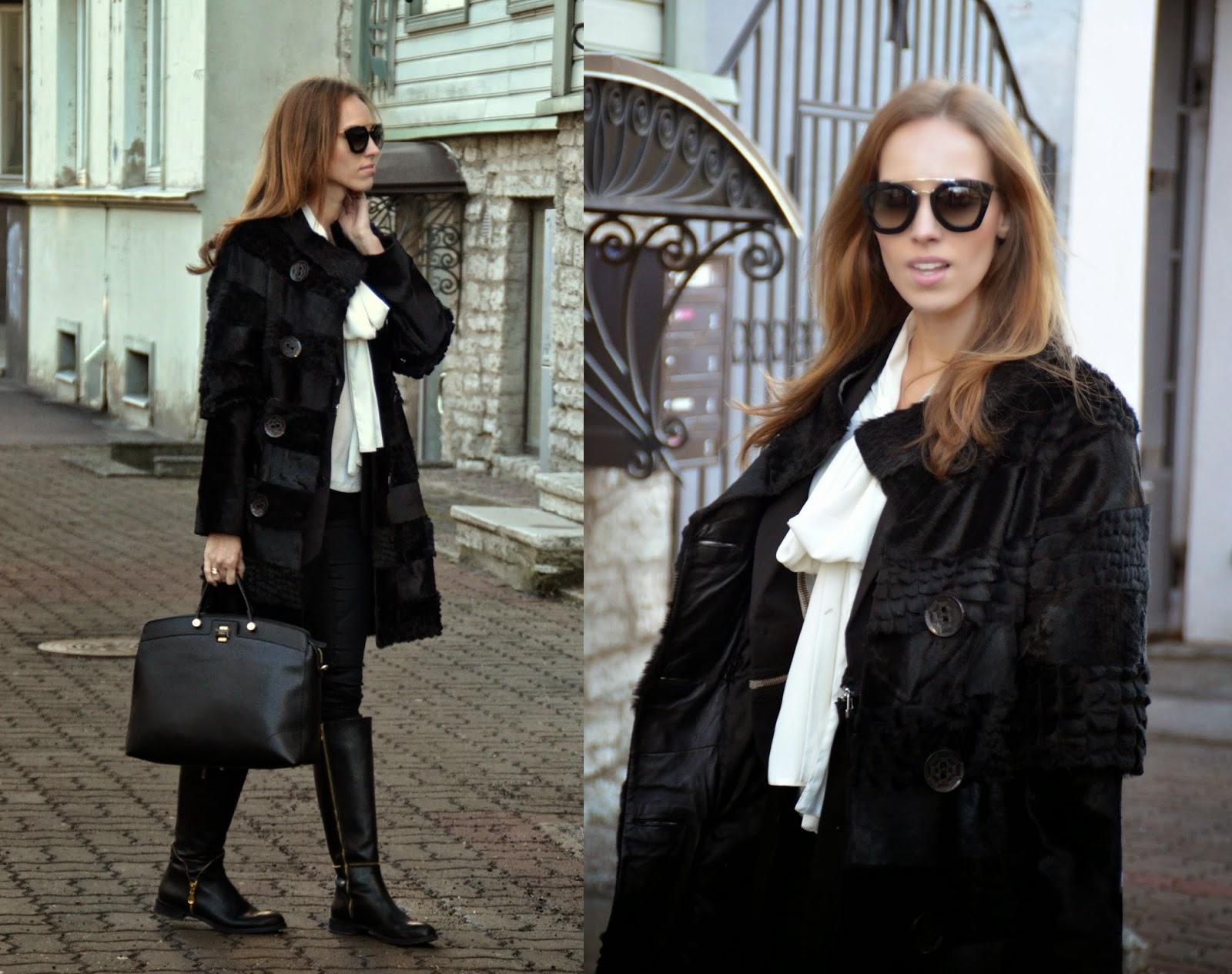 fur-coat-furla-black-bag-noa-boots-prada-sunglasses-asos-pussybow-blous
