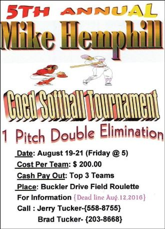8-19/20/21 Mike Hemphill Coed Softball Tournament