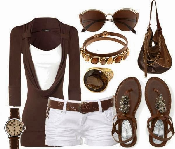 Brown cardigan, white blouse, pants, handbag and sandals