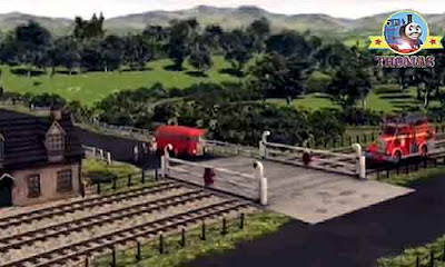 Sir Topham Hatt gatehouse 3 train track steam railway level crossing gate little red Bertie the bus