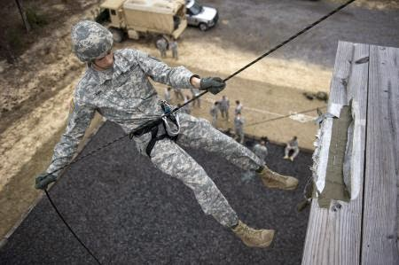 the process of rappelling Company b is at the rappelling tower today    all day first the equipment is checked and one platoon gets outfitted right away these are the same harnesses we wore earlier this week at the klettersteig, so cadets are familiar with the process.