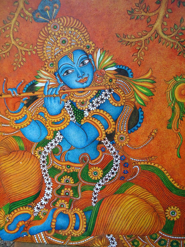 Mural paintings mural painting krishna for Mural radha krishna