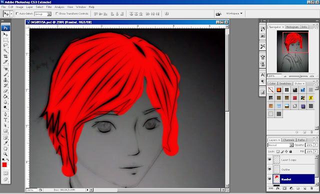 Gambar - Mewarnai bagian Rambut dengan warna merah