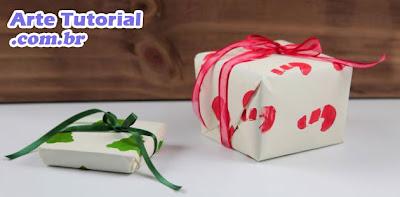 Embrulho de presente para o Natal barato e fácil de fazer